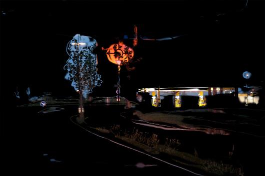 Vorstadt bei Nacht — Fotozeichnung Kunst Kerstin Mer