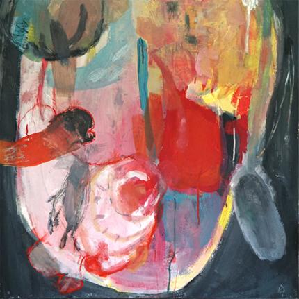 """Ausschnitt des Bildes """"on Fire"""" - man sieht eine kopfähnliche Form vor dunkelm Hintergrund, die rote und gelbe Farbflächen und Struktkuren in sich hat."""